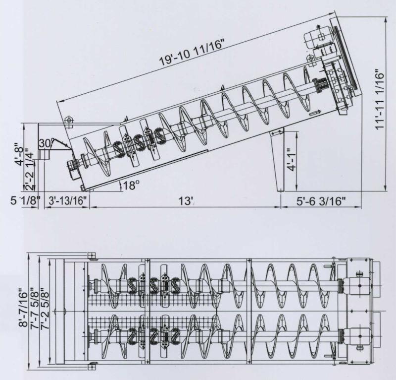 Engineering drawing of Gator Twin 36x18 Coarse Material Washer.