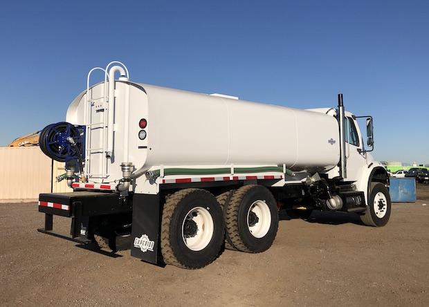 2009 Freightliner M2 106 4,250 Gallon Water Truck. Rear passenger side view.