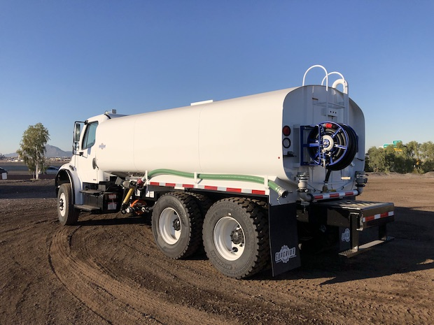 2009 Freightliner M2 106 4,250 Gallon Water Truck. Rear driver side view.