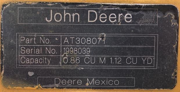 2013 John Deere 310K EP. Front bucket serial number plate.