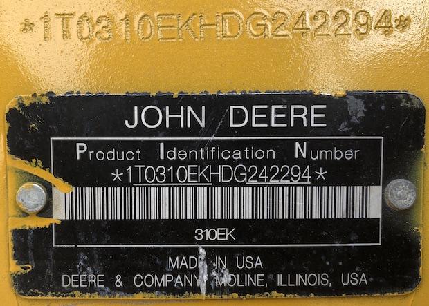 2013 John Deere 310K EP. Serial number plate.