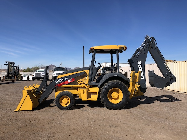 2013 John Deere 310K EP with Extend-a-hoe. Drivers side view.