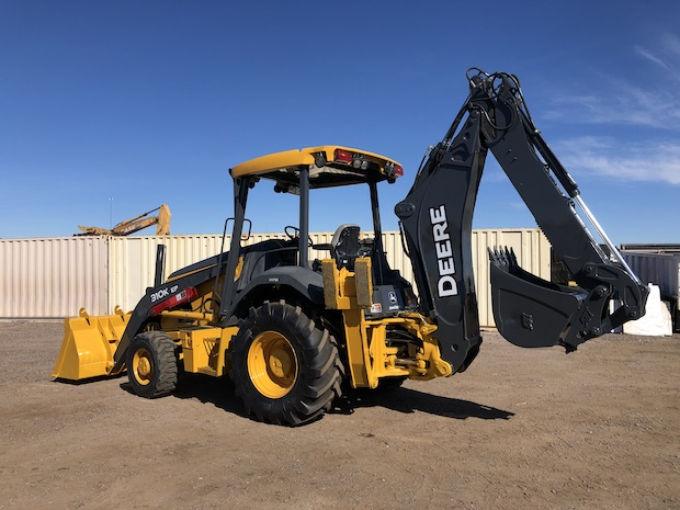 2013 John Deere 310K EP with Extend-a-hoe. Rear Drivers side view.