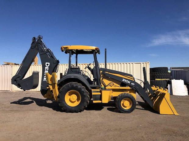 2013 John Deere 310K EP with Extend-a-hoe. Passenger side view.
