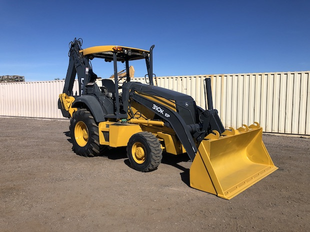2013 John Deere 310K EP with Extend-a-hoe. Front Passenger side view.