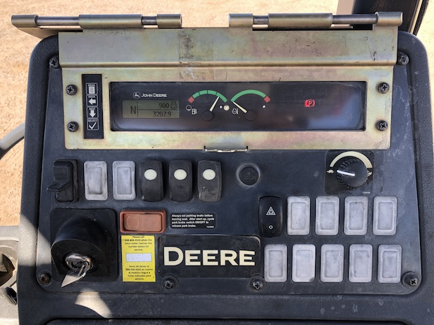 2013 John Deere 310K EP with Extend-a-hoe. Control panel.