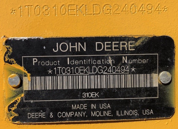 2013 John Deere 310K EP with Extend-a-hoe. serial number plate.