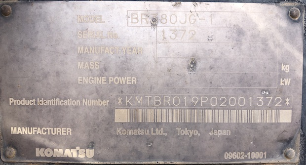 2006 Komatsu BR380JG. Track Mounted Jaw Crusher. Serial number plate.
