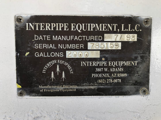 1999 Ford F800 Water Truck. Interpipe Equipment Tank Serial Number Plate.