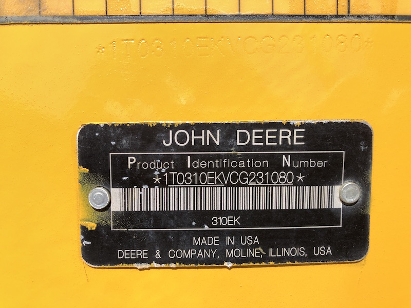 2012 John Deere 310K EP. serial number.