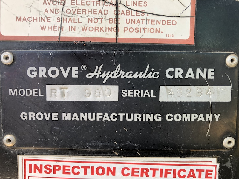 1981 Grove RT980. Serial number plate.