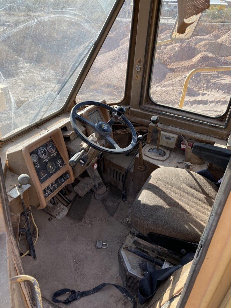 Cat 834B Wheel Dozer. View of enclosed cab.