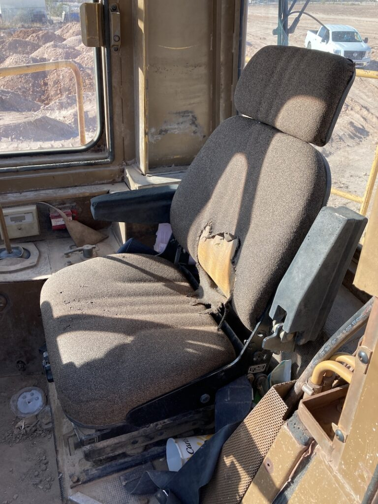 Cat 834B Wheel Dozer. View of operator seat.
