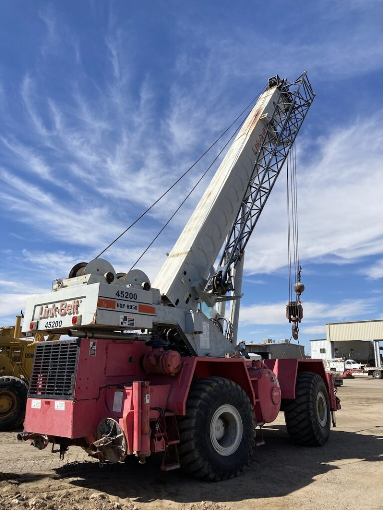 1990 Link Belt HSP-8050  Rough Terrain Crane. Rear right view.
